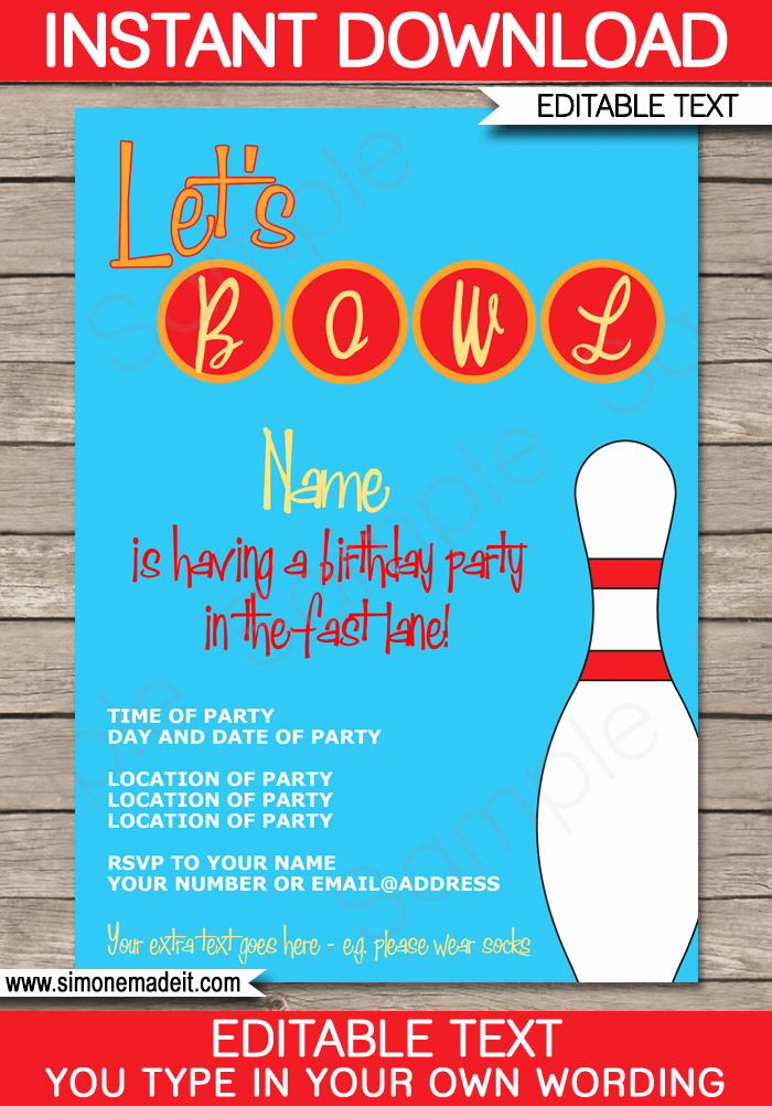 Bowling Invitations Free Template Luxury Bowling Party Invitations Template