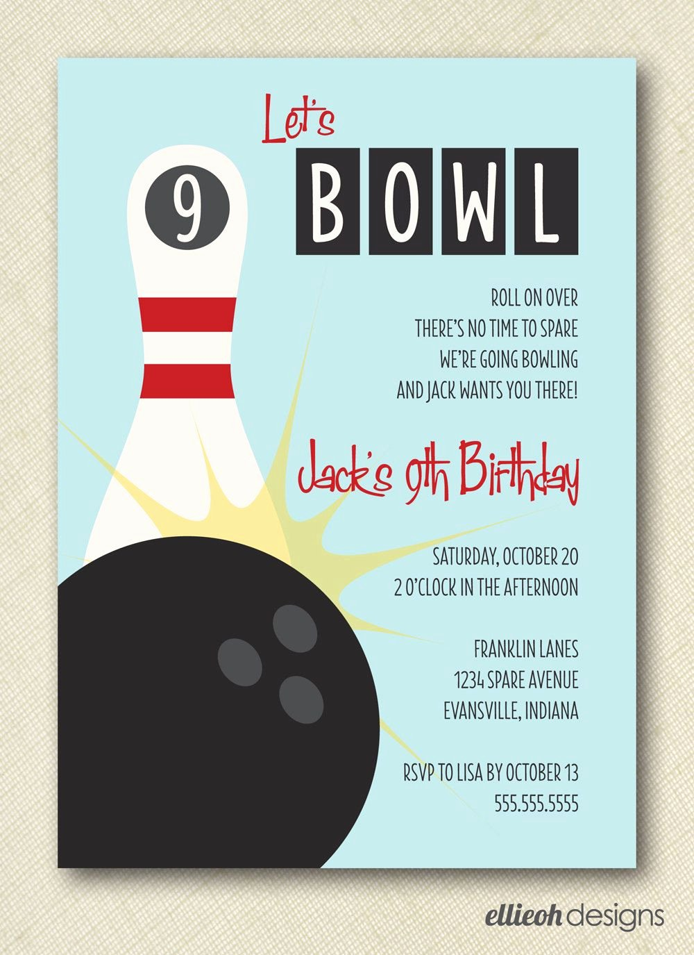Bowling Invitations Free Template Luxury Retro Inspired Let S Bowl Bowling Birthday