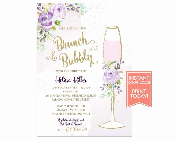 Brunch Invitation Template Free Awesome Brunch and Bubbly Invitation Template Bridal Shower