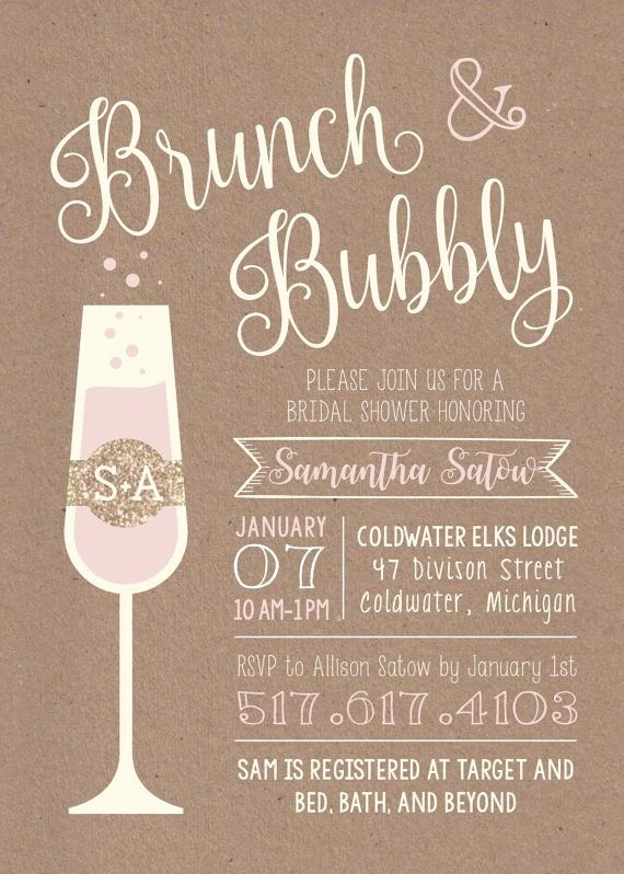 Brunch Invitation Template Free Best Of Brunch & Bubbly Printable Bridal Shower Invitation Etsy