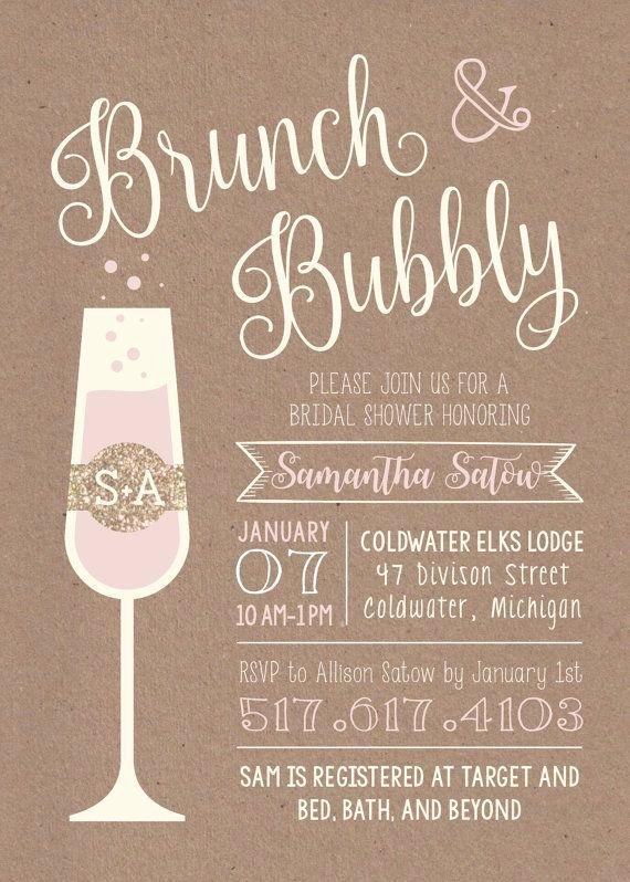 Brunch Invitation Template Free Best Of Brunch & Bubbly Printable Bridal Shower Invitation Etsy