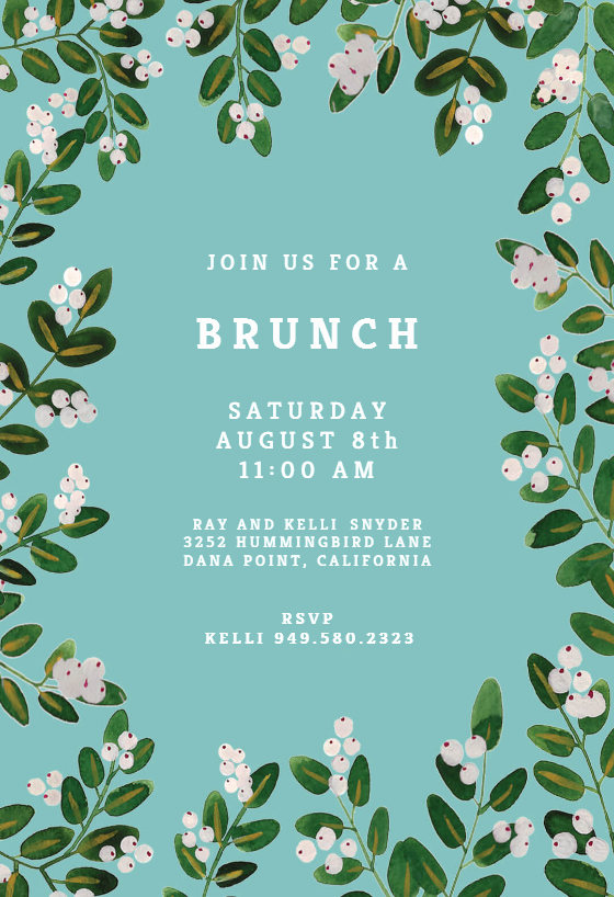 Brunch Invitation Template Free Best Of White Bloom Free Brunch & Lunch Invitation Template