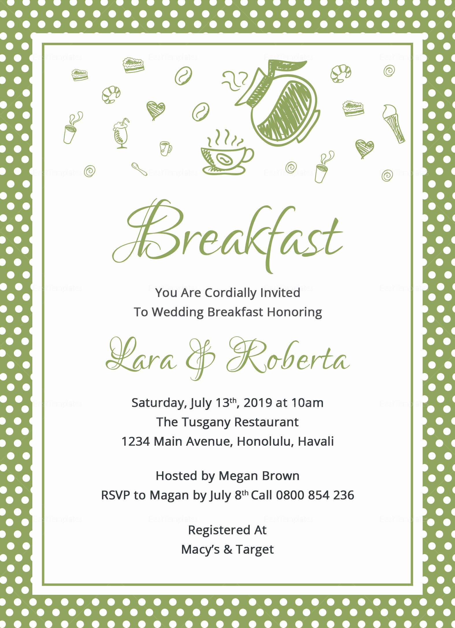 Brunch Invitation Template Free Fresh Printable Breakfast Invitation Design Template In Word
