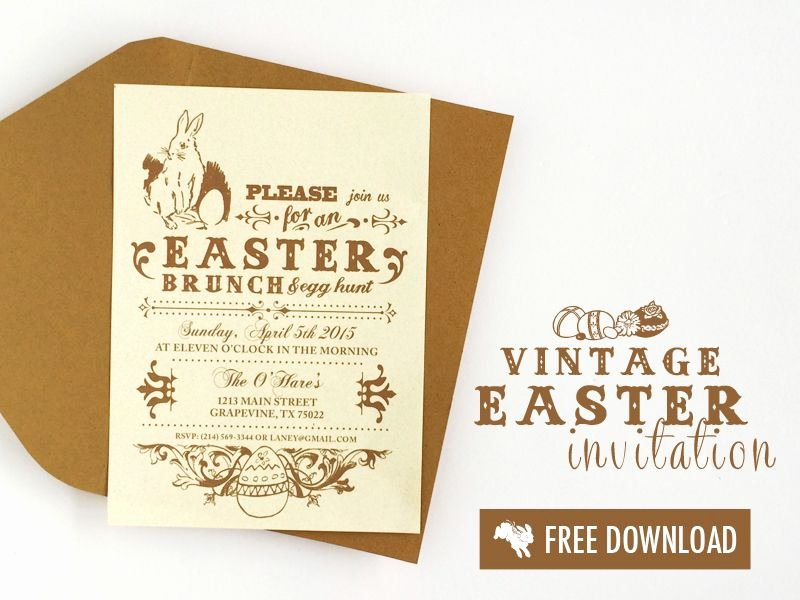 Brunch Invitation Template Free Lovely Free Vintage Easter Invitation Template
