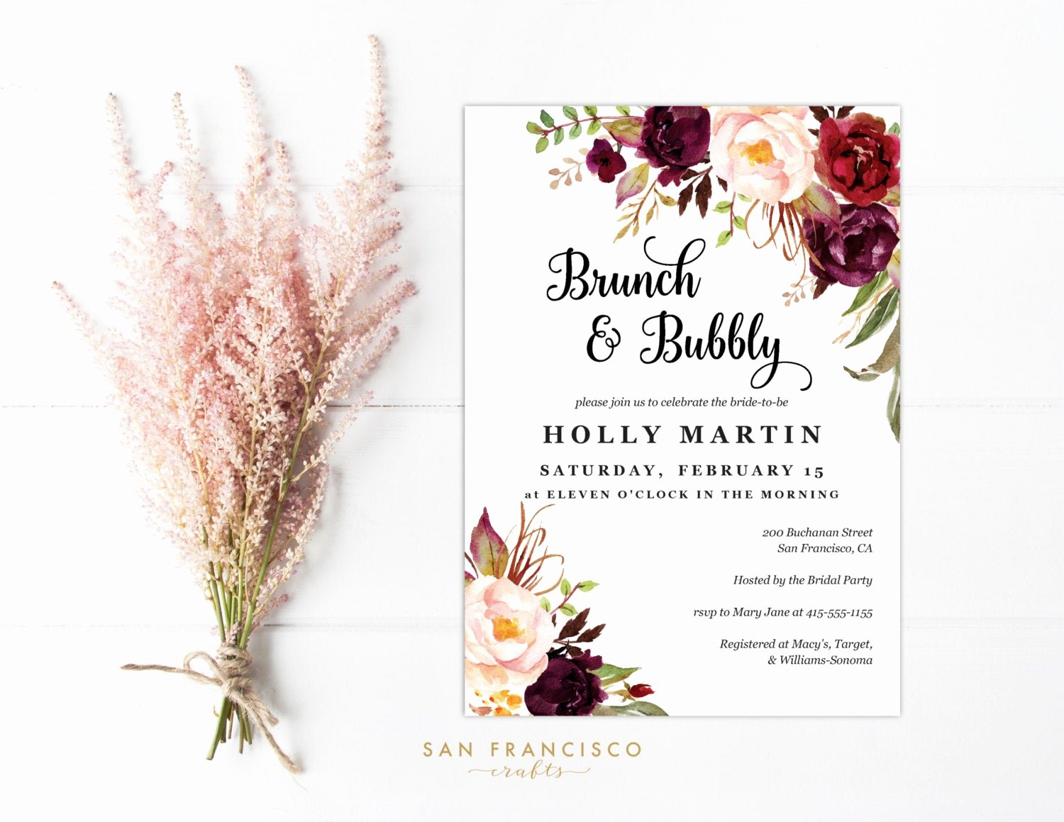 Brunch Invitation Template Free Unique Brunch and Bubbly Invitation Printable Invite Template