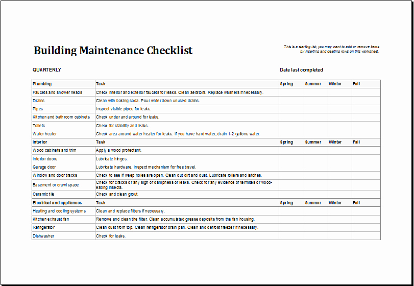 Building Maintenance Schedule Excel Template Beautiful Building Maintenance Checklist Template