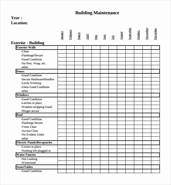 Building Maintenance Schedule Excel Template Beautiful Sample Maintenance Checklist Template 9 Free Documents