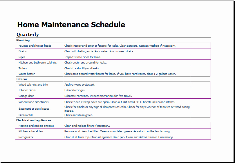 Building Maintenance Schedule Excel Template New Door Maintenance Checklist & Sc 1 St Movers