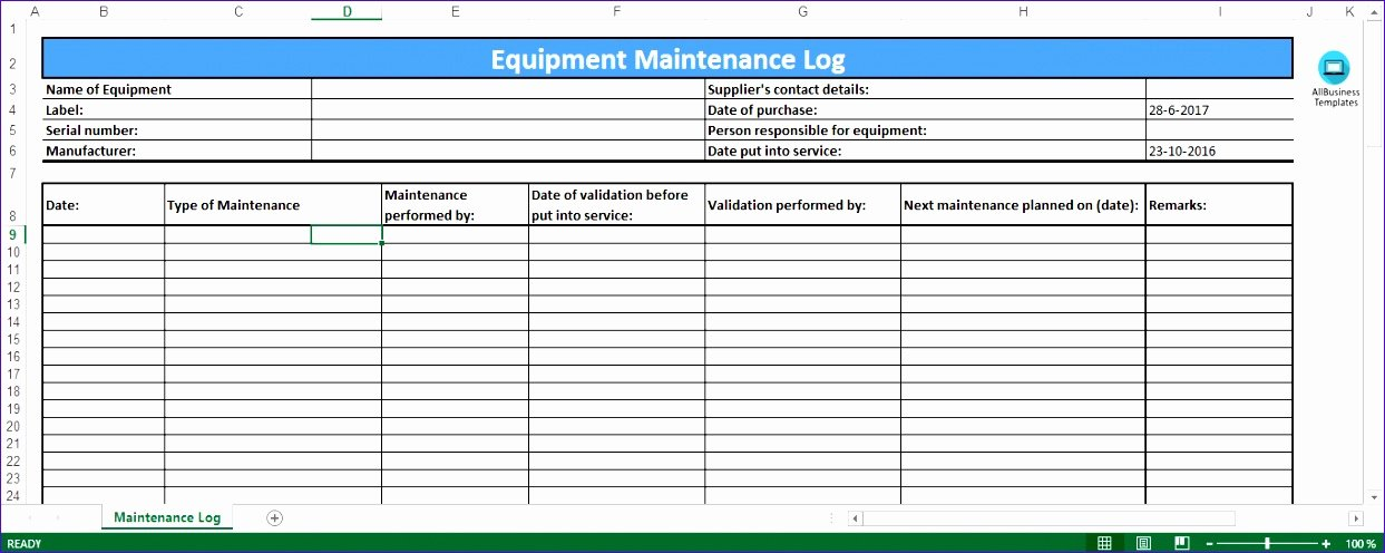 Building Maintenance Schedule Excel Template Unique 6 Preventive Maintenance Template Excel Exceltemplates
