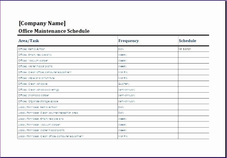 Building Maintenance Schedule Template Inspirational 7 Building Maintenance Checklist Exceltemplates