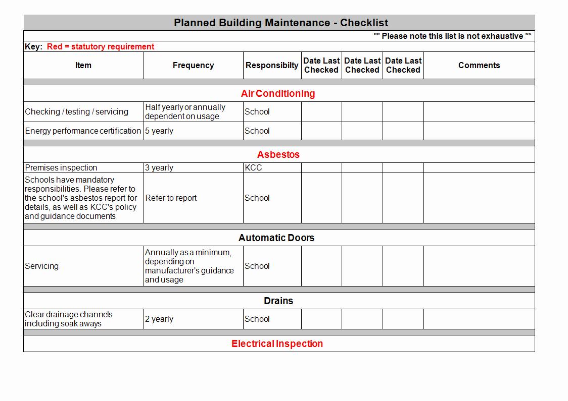 Building Maintenance Schedule Template New Building Maintenance Checklist