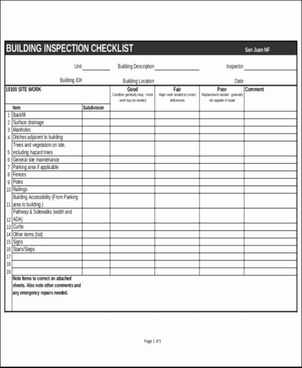 inspection checklist sample
