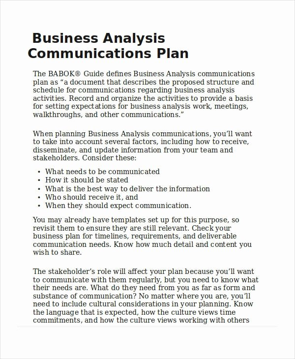 Business Analysis Plan Template Inspirational Business Analyst Munication Plan Template Home