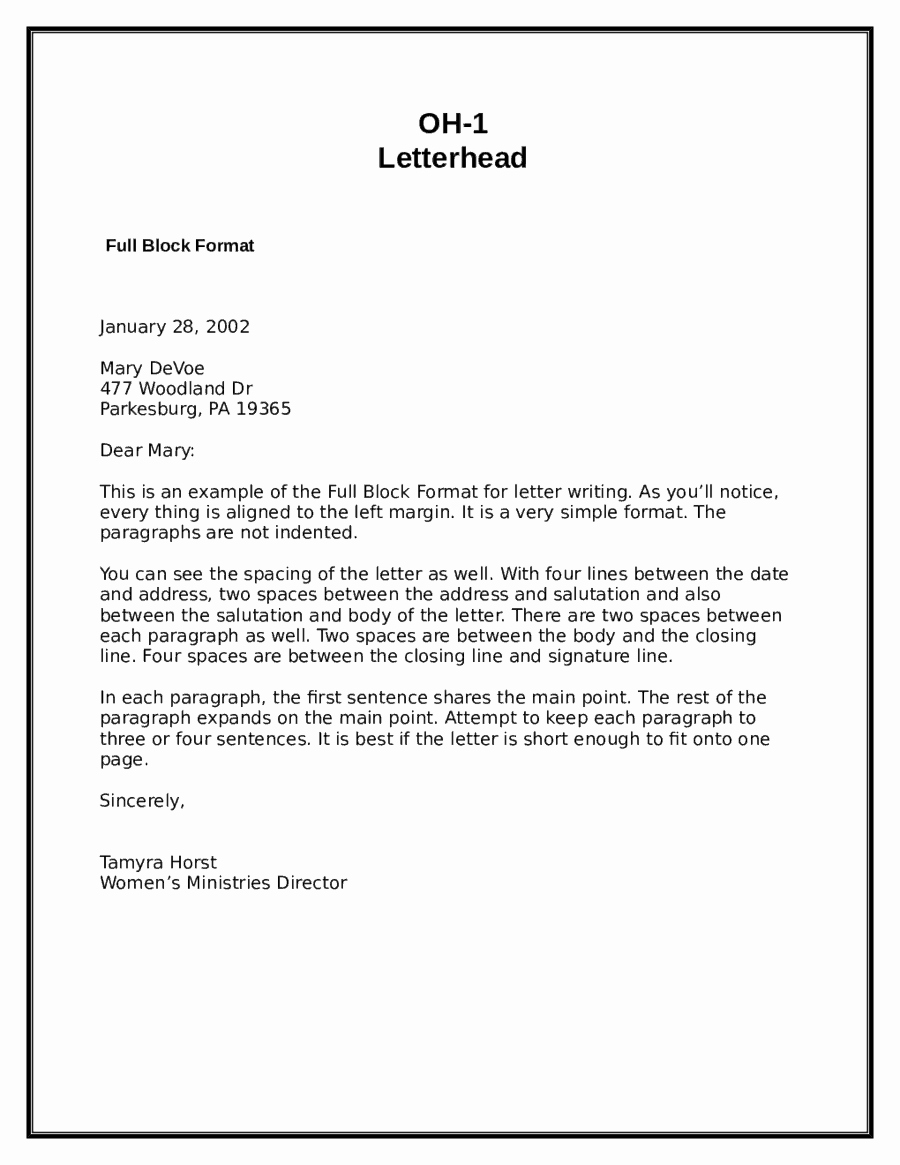 Business form Letter Template Inspirational 5 Block Letter formats Word Excel Templates