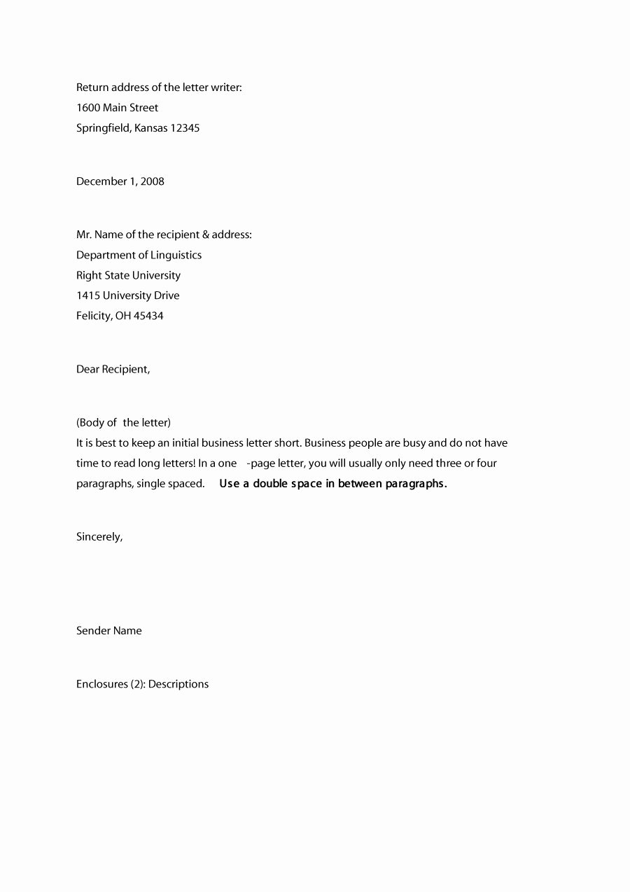 Business Letter format Template Beautiful 35 formal Business Letter format Templates & Examples
