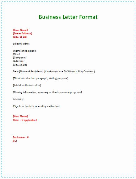 Business Letter format Template Lovely 60 Business Letter Samples & Templates to format A