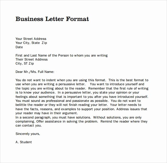 Business Letter format Template New Sample Professional Business Letter 6 Documents In Pdf