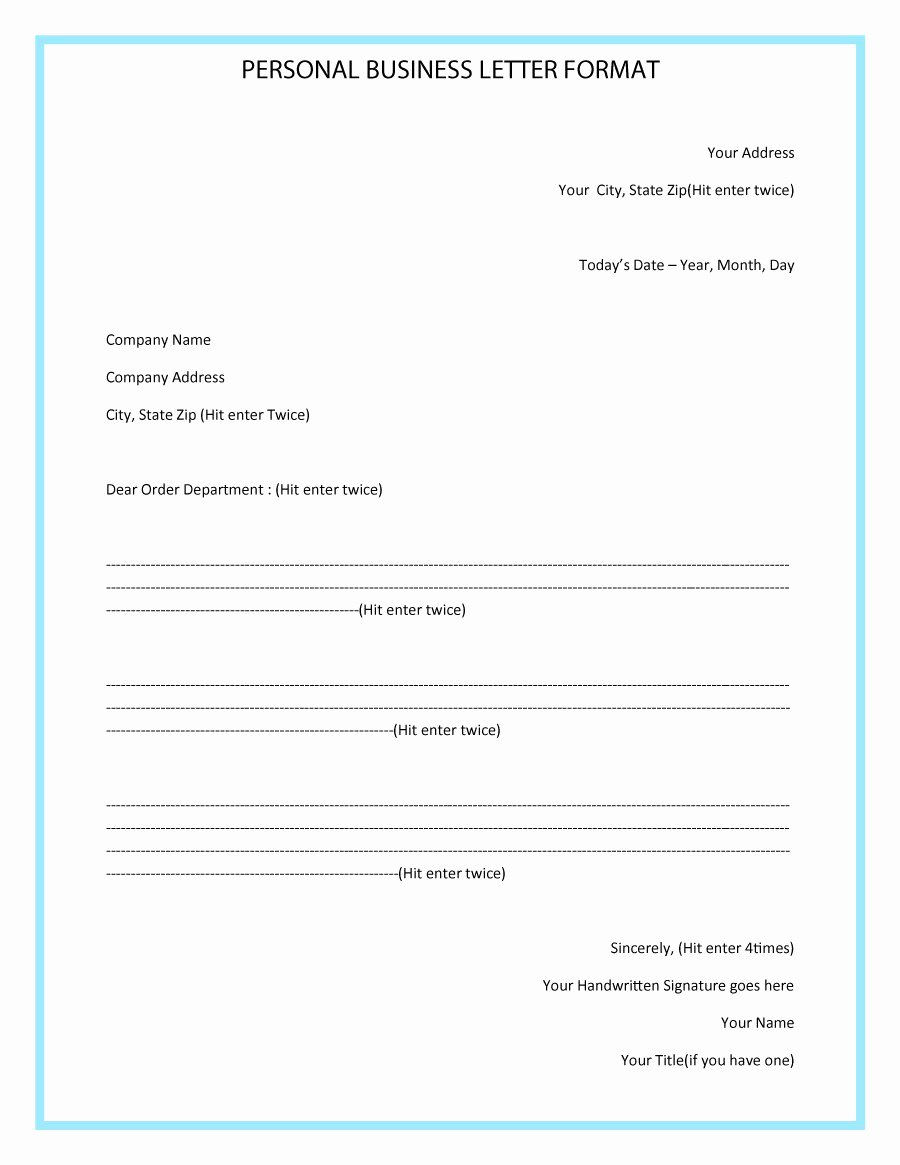 Business Letter format Template Unique 35 formal Business Letter format Templates & Examples