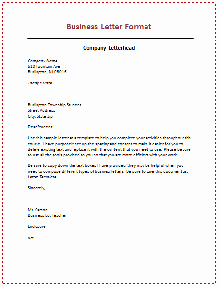 Business Letter format Template Unique 60 Business Letter Samples & Templates to format A