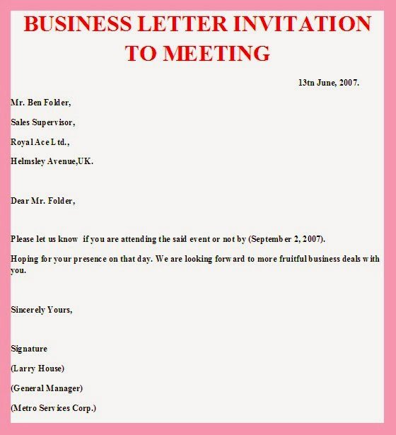 Business Meeting Invitation Template Best Of Business Meeting Invitation Sample