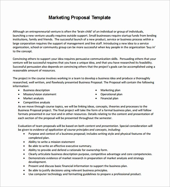 Business Proposal format Template Awesome Marketing Proposal Template 34 Free Sample Example