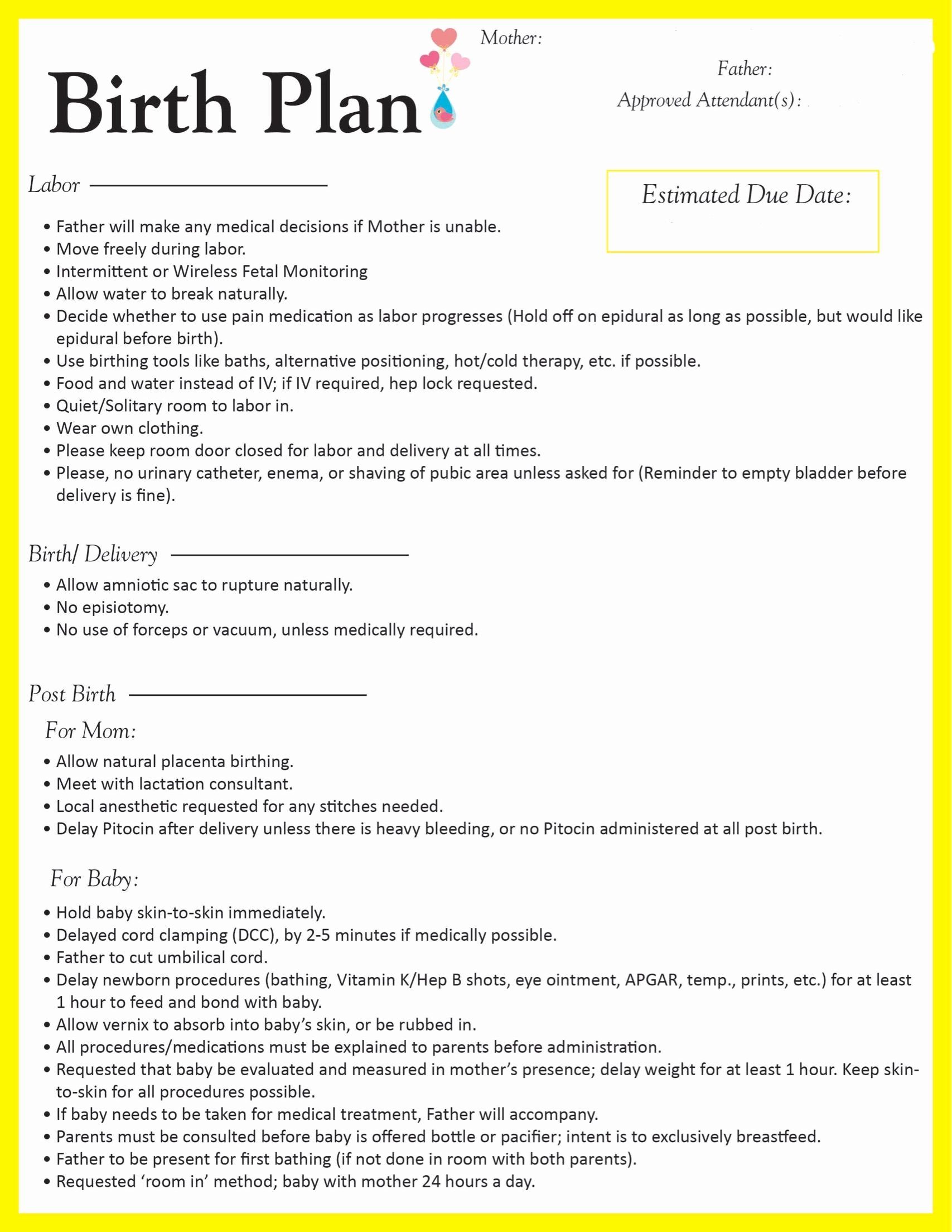 C Section Birth Plan Template Elegant Pin On Let S Have A Baby