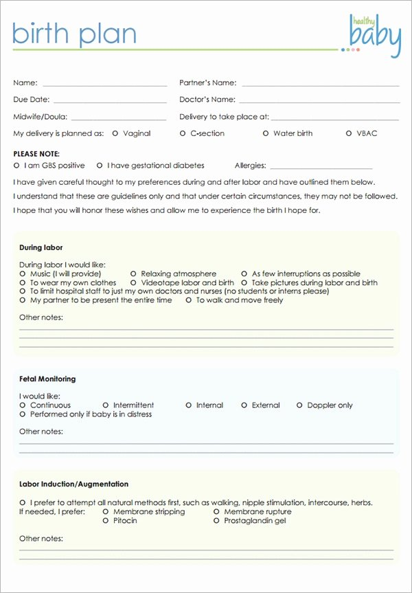 C Section Birth Plan Template Fresh Birth Plan Template