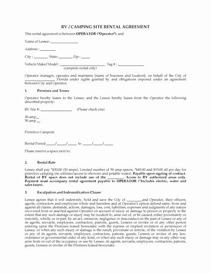 Campground Business Plan Template Fresh Florida Rv Camping Site Rental Agreement