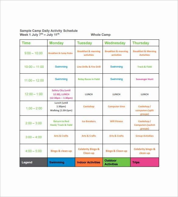 Campground Business Plan Template Unique 15 Camp Schedule Templates Pdf Doc