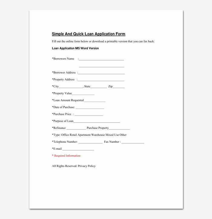 Car Loan Application form Template Awesome Mortgage Application Template 4 Fillable forms for Word Pdf