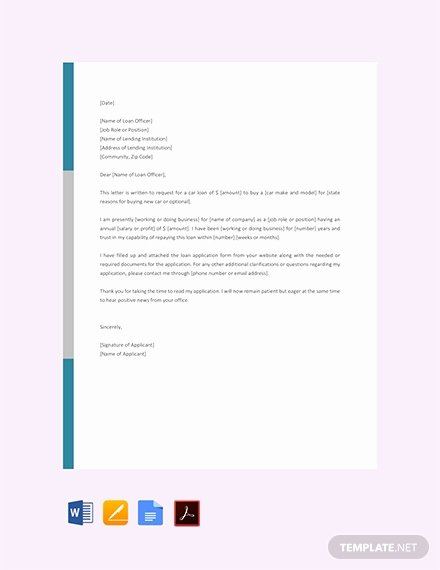 Car Loan Application form Template Elegant Free Loan Request Letter Template Download 1875 Letters