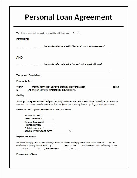 Car Loan Application form Template Elegant Personal Loan Agreement Template and Sample