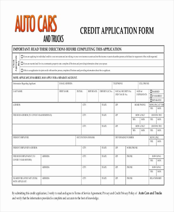 Car Loan Application form Template Unique Free 10 Sample Credit Application forms