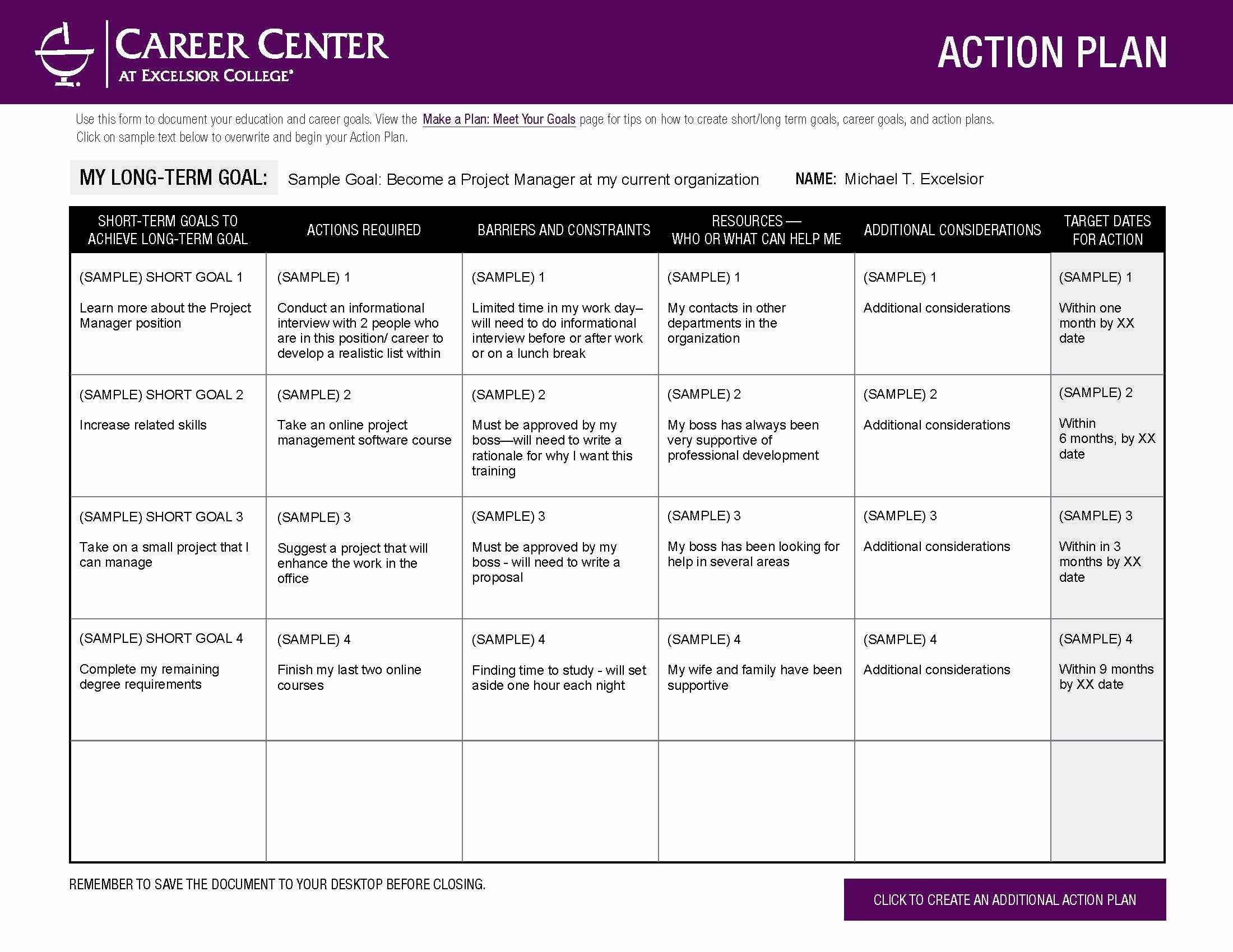 Career Action Plan Template Awesome Excelsior College Make A Plan Meet Your Goals Career