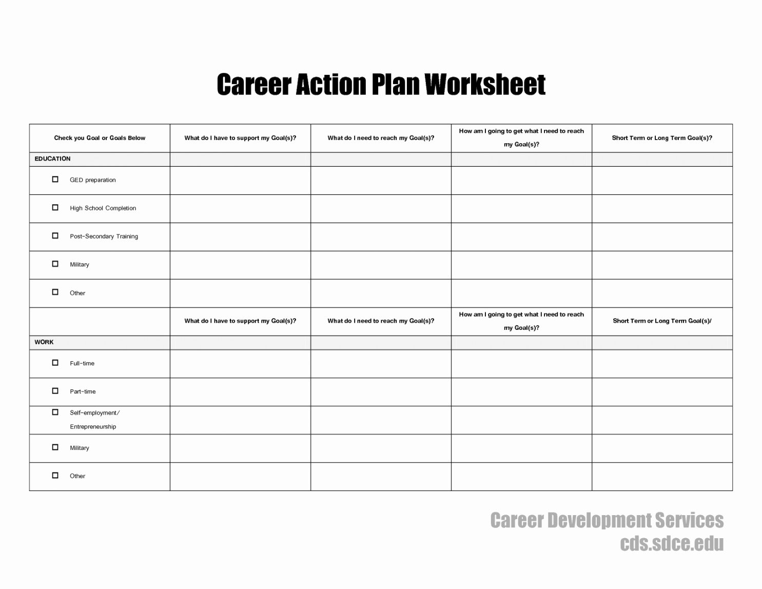 Career Action Plan Template Elegant Career Action Plan Template