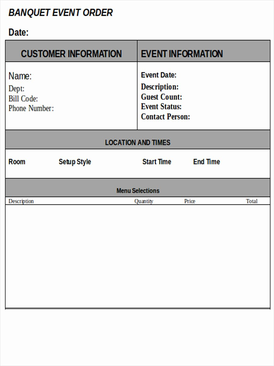 Catering event order form Template Beautiful Banquet event order Template