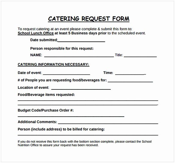 Catering event order form Template Elegant Catering Proposal