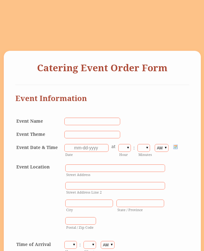 Catering event order form Template Lovely Catering event order form Template