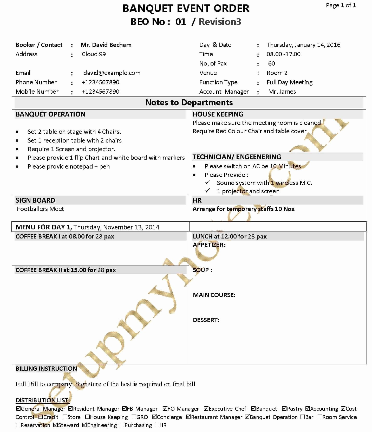 Catering event order form Template Unique Banquet Function Sheet Banquet event order Beo