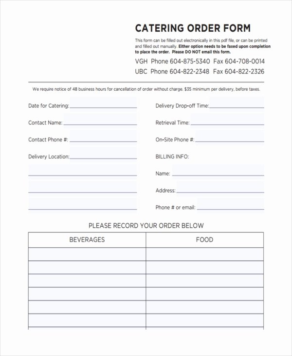 Catering order form Template Free Beautiful 36 Free order forms