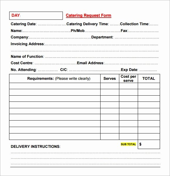 Catering order form Template Free Best Of Free 17 Catering Invoice Samples In Google Docs