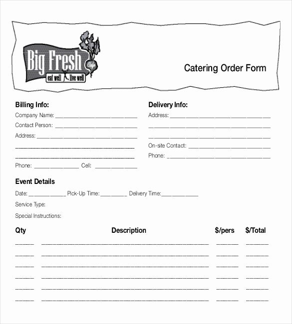 Catering order form Template Free Lovely 18 Food order Templates – Docs Word