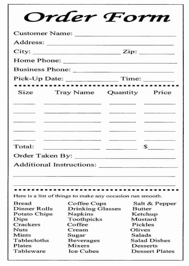 Catering order form Template Free Lovely order form Template Word Blank order form Templates are