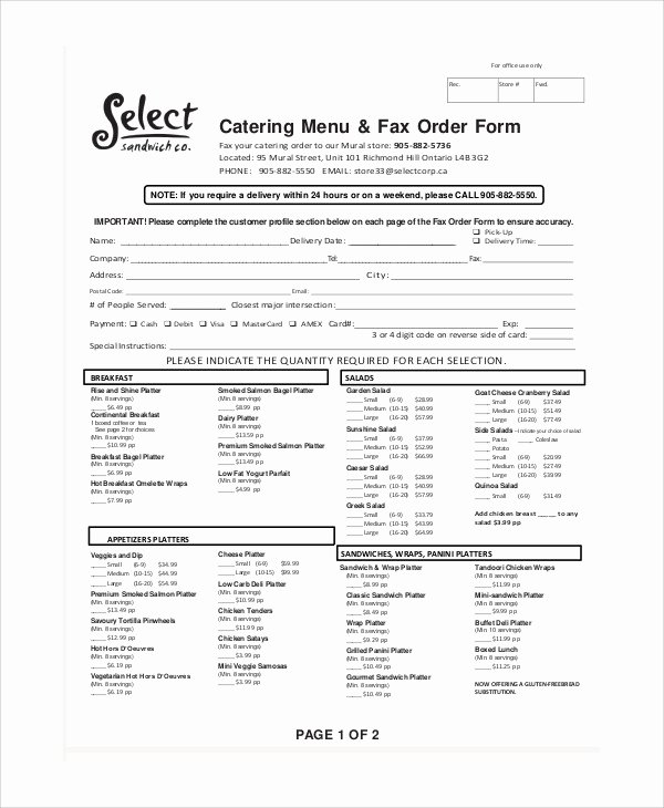 Catering order form Template Free Lovely Sample Catering order form 11 Examples In Word Pdf