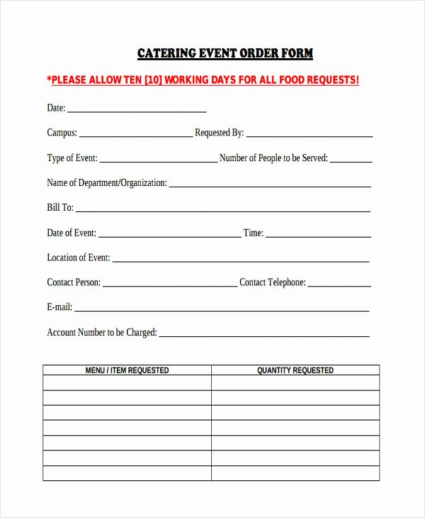 Catering order form Template Free New Free 38 Sample event forms In Word