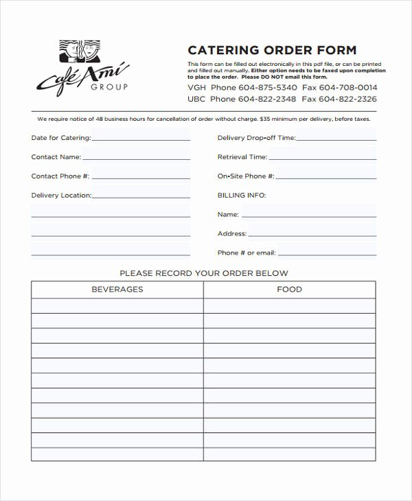 Catering order form Template Free New Free 9 Catering order form In Sample Example format