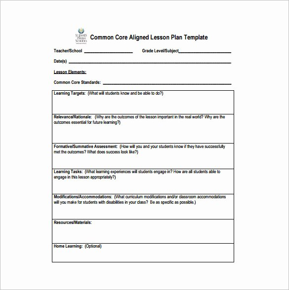 Ccss Lesson Plan Template Awesome Mon Core Lesson Plan Template 8 Free Word Excel