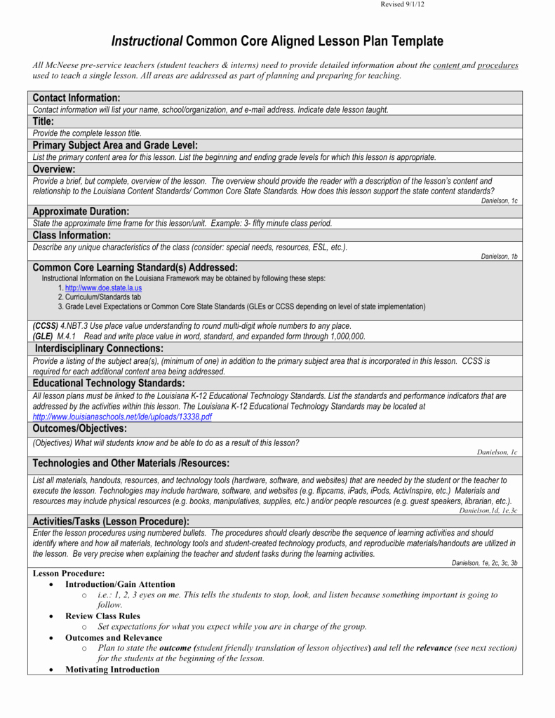 Ccss Lesson Plan Template Best Of Instructional Mon Core Aligned Lesson Plan Template