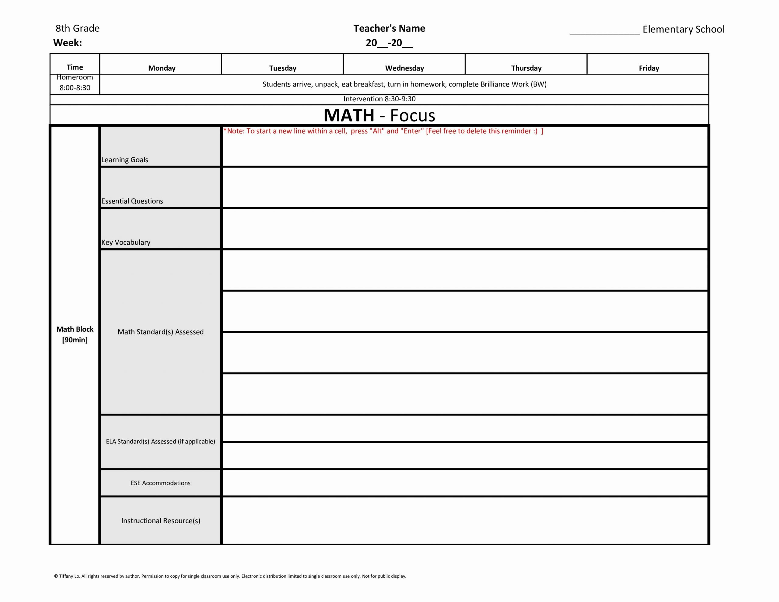 Ccss Lesson Plan Template Elegant 8th Eighth Grade Mon Core Weekly Lesson Plan Template W