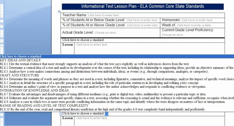 Ccss Lesson Plan Template Fresh Mon Core Lesson Plan Templates Ccss123